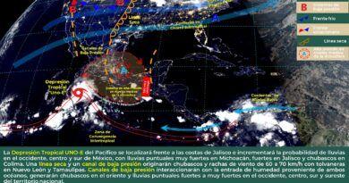 Entra la Depresión Tropical UNO-E del Pacífico
